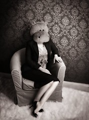 12/52 That's Mrs. Hippo Head to you!! ({AndreaRenee}) Tags: wallpaper portrait blackandwhite black texture me self myself fun high funny humorous artistic head andrea humor creative suit heels hippo andi damask week12 project52