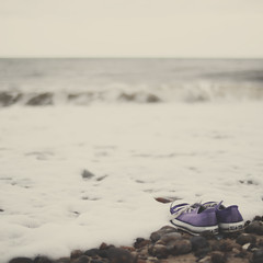 shoes and the waves (Kirstin Mckee) Tags: wet shoes waves purple converse aldeburgh chucks hpt allstars