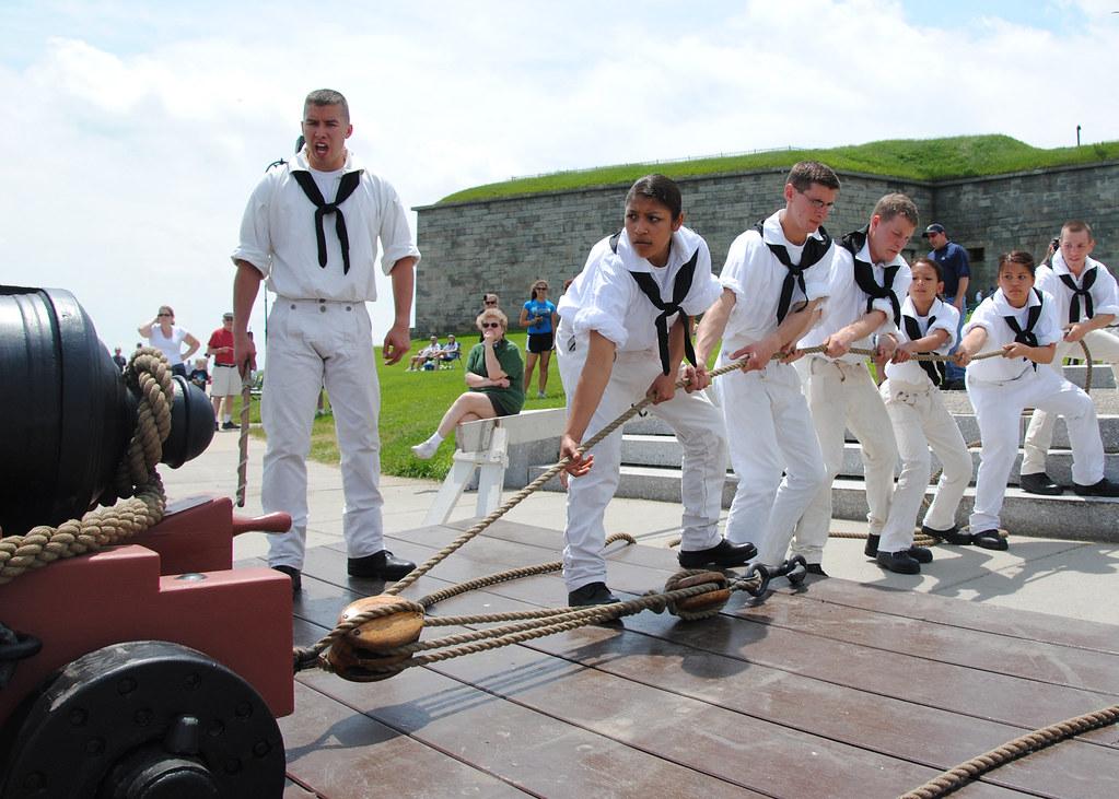 USS Constitution Sailors perform War of 1812-era gun drills for the public