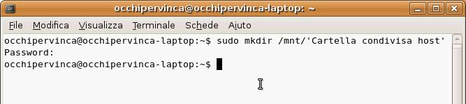 Fig. 10 - Cartelle condivise guest Linux - comando creazione punto di mount