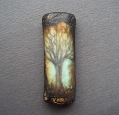 Tree-art bead (gabriel studios) Tags: sky brown black tree texture amber turquoise jewelry polymerclay bead etsy supplies focal handmad pcagoe artbead michelegabrielstudios