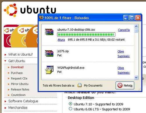 Ubuntu Gutsy download : 2 secs to go :D