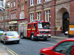 North Yorkshire Fire: Racing Hearts (Can Pac Swire) Tags: street york city england rescue architecture truck fire lights volvo photo downtown shot britain yorkshire centre united great north victorian engine kingdom engines british trucks fighting clifford emergency panning brigade sirens pumper flashes