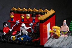Trick or treat? (graham_wa) Tags: halloween skeleton lego trickortreat humour spongebob horror axe michaeljackson mace snakes knockknock squarepants decapitation patrickstar headsonsticks shocktober anotheronefortheshelf chophisheadoff