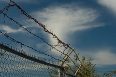 Limits (carl derrick) Tags: nyc newyorkcity c queens urbannature barbedwire gateway fencing farrockaway nationalwildliferefuge breezypoint restriction forttilden cdd naturenyc
