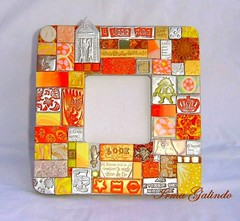 * I LOVE YOU   33 (Irma G./ IWORKARTWORK) Tags: orange espelho mirror handmade mosaic tiles clay handpainted espejo etsy naranja specchio polymer woodenbox hechoamano arcillaspolimricas