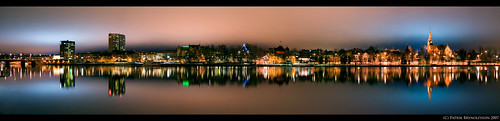Panorama of Umeå by night