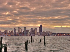 sleepy Seattle (joiseyshowaa) Tags: alki beach alkibeach seattle harbor puget sound sunrise dawn sun clouds west westseattle cloudy water pacific washington aplusphoto land scape landscape cityscape joiseyshowaa joiseyshowa twilight mywinners waterscape
