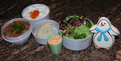 Mr. Bento - December 18, 2007 (Great Stone Face) Tags: salad cookie yogurt marmalade beefstew thousandislanddressing rosemarybread mrbento honeybell