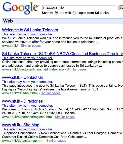 "Google warns Sri Lanka Telcom (slt lk) ""may harm your"