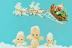 Baby It's Cold Outside (boopsie.daisy) Tags: santa christmas blue holiday 3 silly cute vintage reindeer three dolls sweet kitsch celebration claus kewpies 25faves