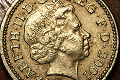Pound coin Macro (WesDigital) Tags: money macro face metal closeup coin queen british pound currency sigma105mm wesdigital