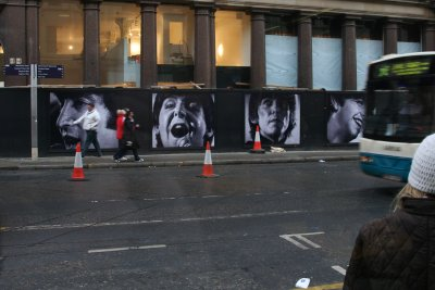 The Beatles grace a construction barrier outside Liverpool's Cavern Quarter