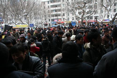Coach station crowds, Nanjing