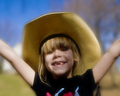 I Gots My Daddy's Hat! (Cayusa) Tags: smile hat cowboy daughter savanah cwd outdoorlight outdoorportrait tacwd takeaclasswithdavedave tacwdd