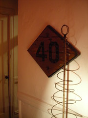 40mph railroad sign (omoo) Tags: wood newyorkcity home apartment westvillage 40 greenwichvillage railroadsign diamondshape