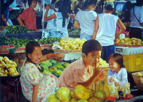 MARKET SCENE PAINTING street vendor boy girl   Philippines Pinoy Filipino Pilipino Buhay  people pictures photos life Philippinen    special espesyal palengke