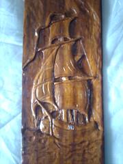pirate boat on Iroco wood - πειρατικό καράβι σε Ιρόκο