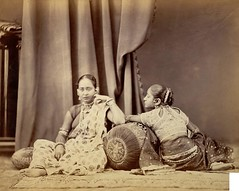 Girls wearing jewellery, from the Bengal collection at the International Exhibition of (1872) (farhadcampwala) Tags: old ladies girls india history beautiful fashion vintage women sitting indian traditional mahal historic blouse jewellery historical british wealthy sari bold lucknow sideface hindustan