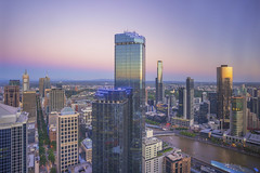 """The Belt of Venus"" at Melbourne skyline"