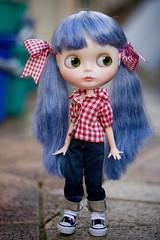 they tell me... (JennWrenn) Tags: doll blythe custom bluehair dyed redgingham pureneemo kissmetrue