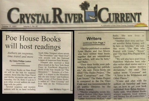 Crystal River Current on Poe House Books Author Event