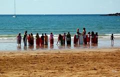 surf students (Lenatxu) Tags: water kids waves surfing bodyboard