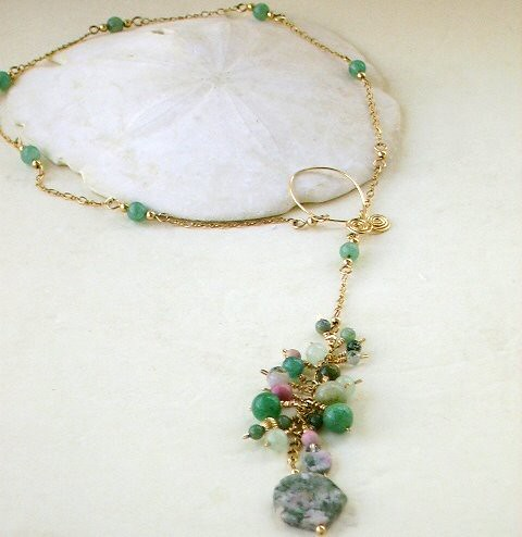 Mossy Green Lariat in Gold