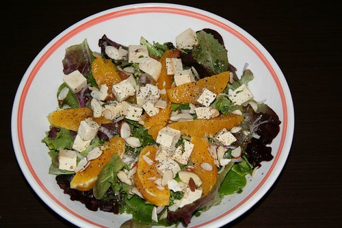 Salad: Mixed Greens, Oranges, Tofu, Ginger-Soy dressing