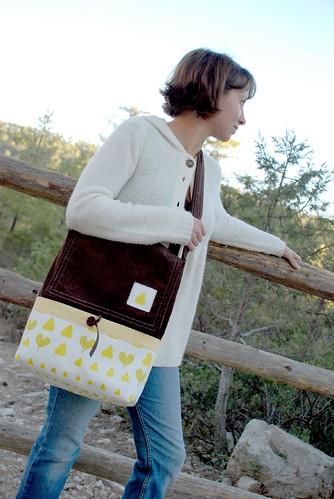 messenger bag pear and corduroy 1