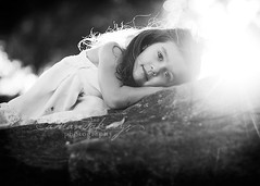Rest ({amanda}) Tags: light sun girl rock evening warm mood child mykid 85mm flare rest resting bnw sunflare ttd fiveyears 5years amandakeeysphotography matildajaneclothing