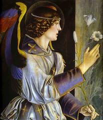 bellini, annunciation, 1464-68, colorful, lilies, angel, archangel, gabriel