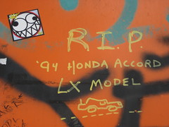 RIP (SReed99342) Tags: nyc streetart newyork brooklyn honda accord graffiti sticker rip williamsburg wish914