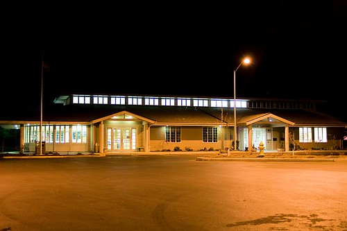 Illuminated Learning - the Stayton Public Library at night in Stayton Oregon