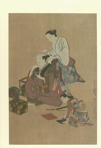 Arreglando el cabello a un noble-artista Kwaigetsudôo Ando