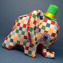 Elephant Toy A (Marisa Straccia) Tags: elephant cute toy handmade craft softie tophat plushie stuffy checkered handstitched stuffie