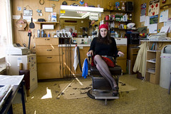 041508 (austinspace) Tags: city portrait woman haircut college shop washington student university downtown day daily barber cheney bud brunette eastern ewu easternwashingtonuniversity perday