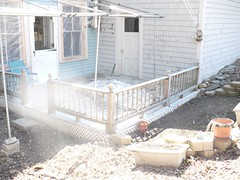 The back deck with whats left of Mt P.  4-16-08