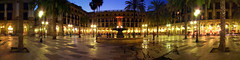 Placa Reial at night (flofler) Tags: barcelona summer panorama fountain night palms hostel spain sony wide wideangle dri hdr f717 180degrees wideanglelens placareial kabulhostel