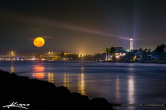 Jupiter Lighthouse Moon Set Over the Jupiter Inlet (Captain Kimo) Tags: captainkimo florida jupiter jupiterinlet jupiterlighthouse lunar moon moonset