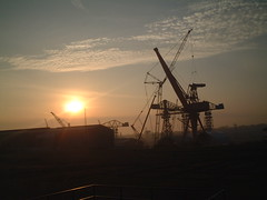 Dismantling the cranes at Swan Hunter