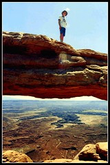 Canyonlands, Utah Explorer, Come up and Join Me! (moonjazz) Tags: hat danger wow fun utah goal scary alone risk outdoor teens adventure explore climbing zen views teenager balance dizzy connection confidence challange canyonland achievment viista naturewatcher
