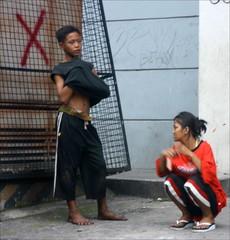 two street kids (_gem_) Tags: street city people urban kids outdoors candid philippines driveby manila daytime streetkids streetchildren quezoncity metromanila