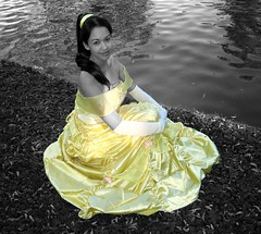 Princess Belle by the lake (VictoriaCosplay) Tags: park 2 blackandwhite bw lake yellow hearts costume dress princess cosplay lola kingdom disney belle beautyandthebeast disneyprincess yellowdress cosplaygirl victoriacosplay