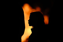 By firelight (Mark Rutter) Tags: silhouette fire profile firelight silhouetteonorange