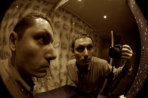 Fisheye portrait in the hotel bathroom