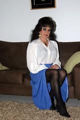 Blouse and Blue Skirt (Christine Fantasy) Tags: feminine makeup christine fantasy transvestite elegant crossdresser transsexual shemale