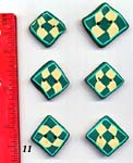 Set of 6 Square Green Checker Buttons