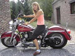 my cute daughter (figaro-bobber) Tags: cute heritage girl bike nice daughter harleydavidson hd vtwin vpower 1340cc motorgirl