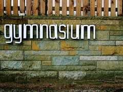 Gymnasium (foddokross) Tags: wood school brick sign wall vintage fence germany wooden stones steel signage font type letter escuela lettering typo zaun holz gimnasio gymnasium norderstedt cole schule mauer copernicus 70ies garstedt 60ies naturstein heroldcenter